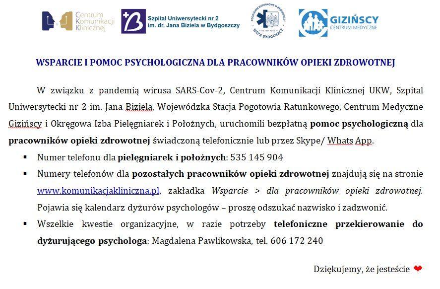 Sars 2 pomoc psycholigiczna